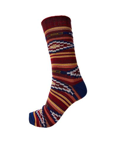 Geometric print sports socks