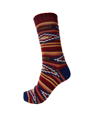 Geometric print sports socks
