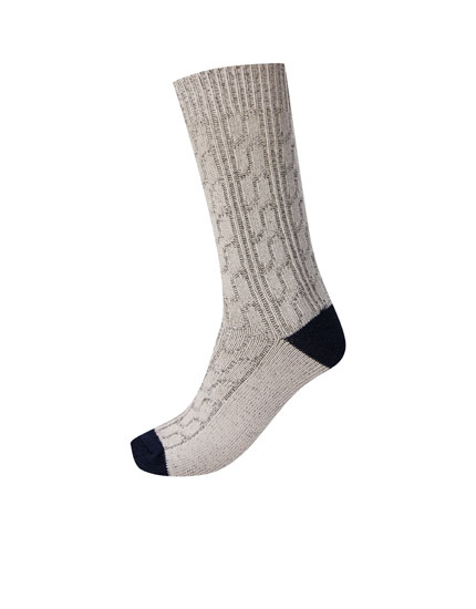 Grey cable-knit sports socks