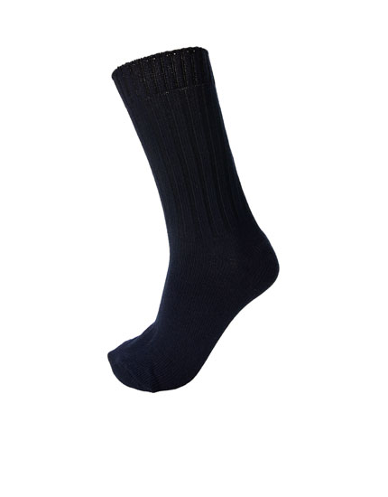 Ribbed black sports socks