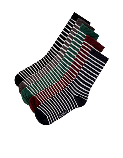 Pack of 5 pairs of socks with a striped print