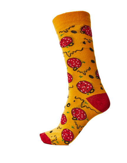 Pizza and salami print socks