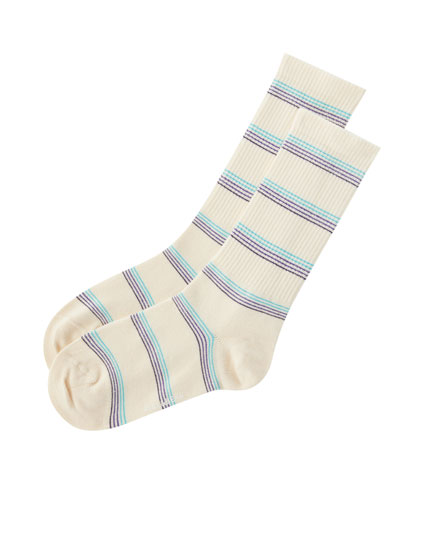 Sports socks with multicoloured stripes