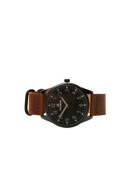 Contrast brown faux leather watch