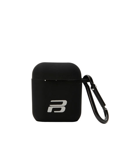 Black silicon airpods case