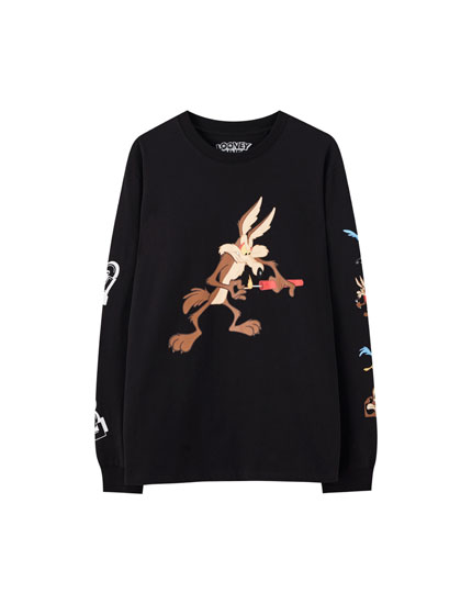T-shirt Looney Tunes noir Coyote