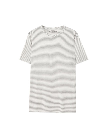 Striped T-shirt with turn-up sleeves