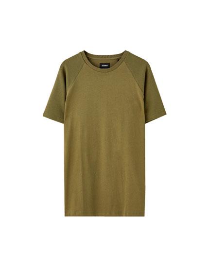 Μπλούζα basic με μανίκια από ύφασμα ottoman