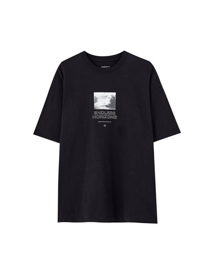 Black T-shirt with contrast illustration