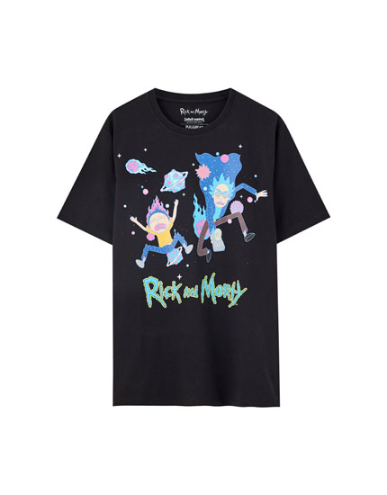 Rick and Morty T-shirt with planet print