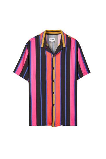 Fuchsia stripe print shirt