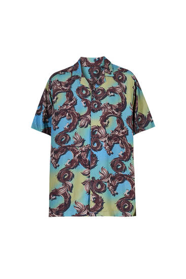 Turquoise shirt with dragon print