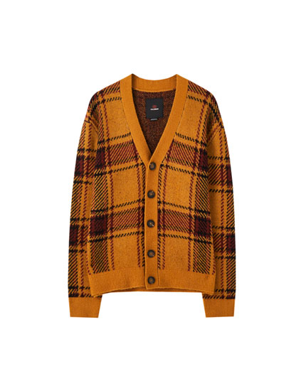 Checked mustard yellow knit cardigan