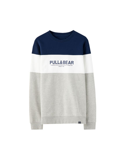 Sweat color block logo Pull&Bear
