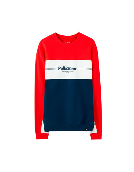 Pull&Bear colour block sweatshirt