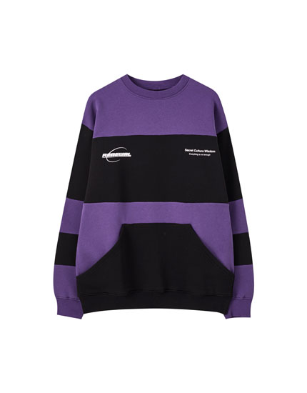Purple colour block sweatshirt