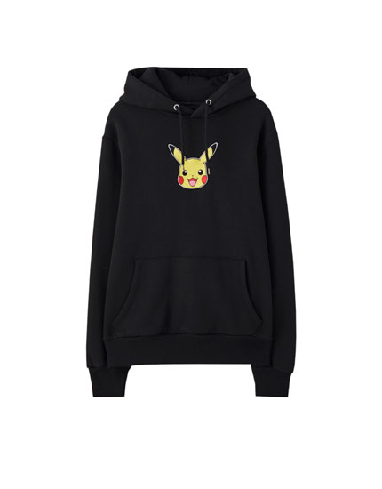Black hoodie with embroidered Pikachu