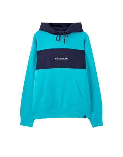 Embroidered colour block logo hoodie