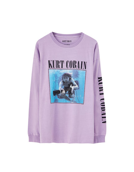 T-shirt lilás do Kurt Cobain