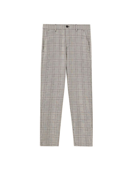 Skinny fit tailored chino trousers with check print