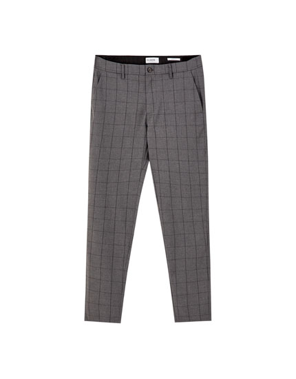 Skinny fit tailored chino trousers with print