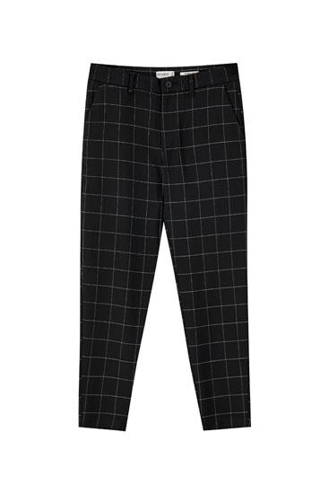 Pantalón tailoring cuadros negro