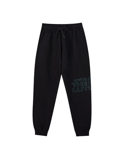 Black cotton jogging trousers
