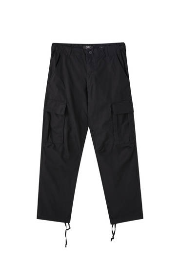 Black cargo trousers with adjustable hems