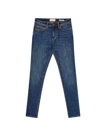 Синие джинсы суперскинни