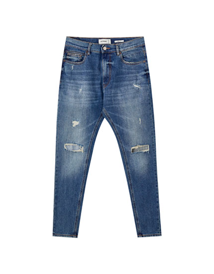 Mid waist carrot fit jeans