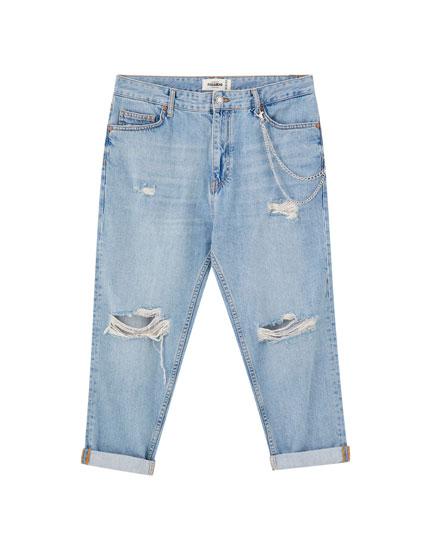 Jeans relaxed fit déchiré chaîne