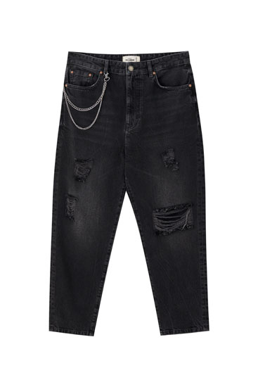 Relaxed jeans with rip detail