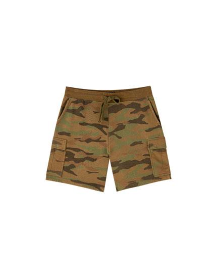 Jogging-Bermudashorts Camouflage im Cargohosenstil