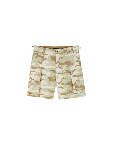 Camouflage ripstop cargo Bermuda shorts