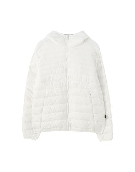 Lightweight puffer jacket with a hood