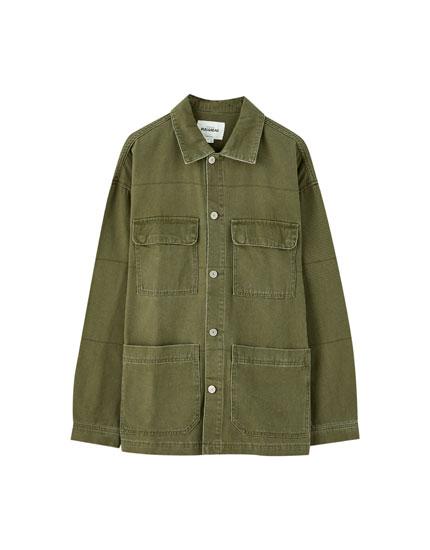 Denim worker jacket with pockets