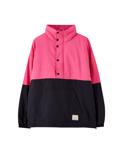 Anorak jacket with colour block design and logo