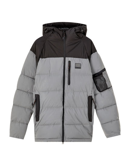 Contrasting reflective puffer jacket