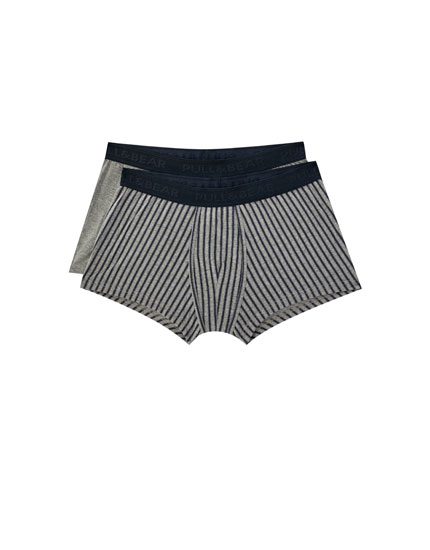 2-pack of boxers with blue striped print