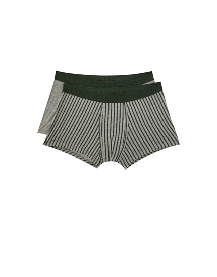 2-pack of boxers with green striped print