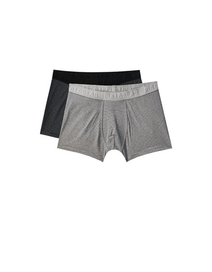 Pack 2 boxers negros rayas