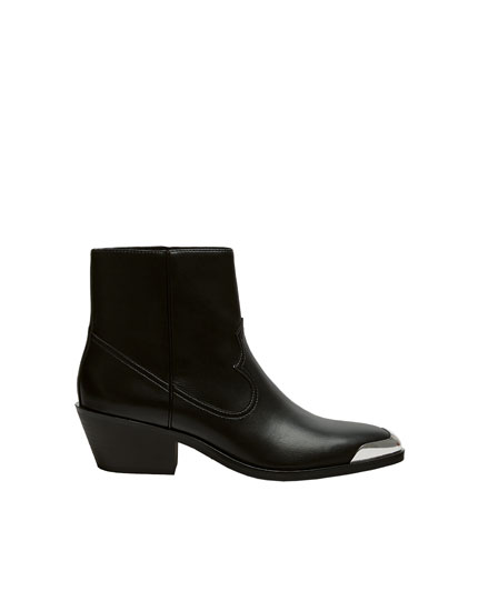 Black cowboy ankle boots with metal plate