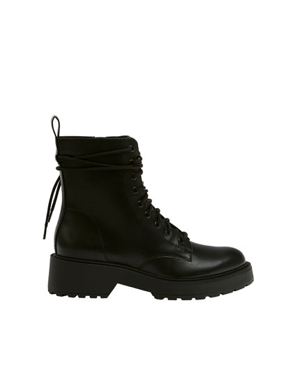 Lace-up biker ankle boots