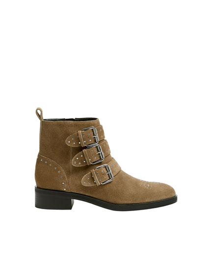 Bottines plates cuir