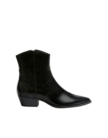 Bottines cowboy noires