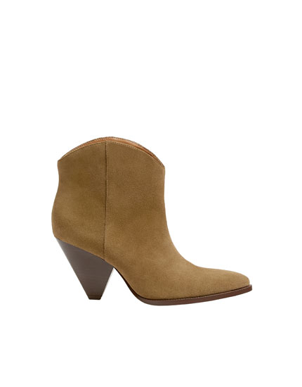 Sand-coloured split suede ankle boots