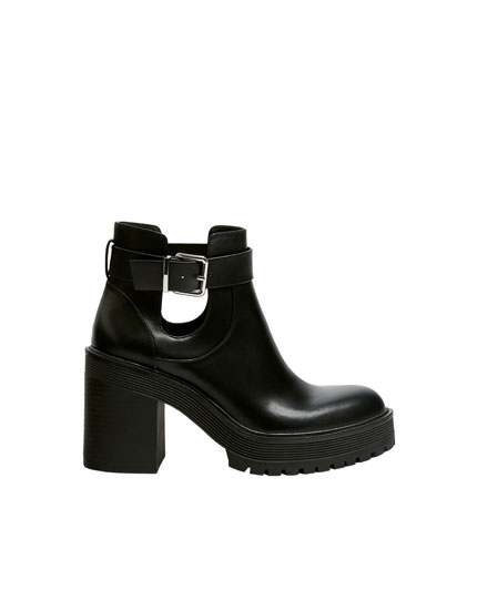 High-heel cut-out ankle boots