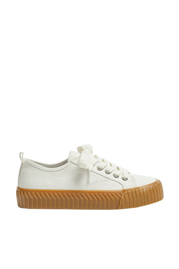 Beige fabric trainers