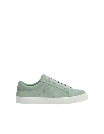 Mint green split suede trainers