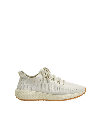 Beige stretch trainers